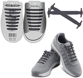 Nokea no大人のタイShoelaces–-防水シリコンゴムフラットAthletic Running Shoe Lacesマルチカラーのスニーカーブーツボード靴、カジュアルシューズ