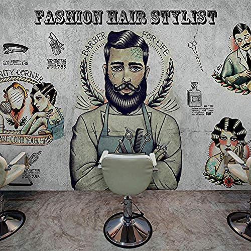 Personalizado personalizado Barber Shop Mural Wall Paper 3D Hair Salon Makeup Store Gran fondo de pared gris 3D Wall Mural wallpaper 350cmx250cm