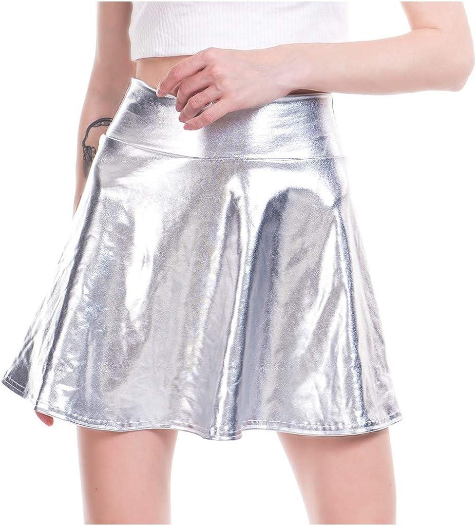 Youmymine Women's Casual Skirts Fashion Shiny Metallic Dance Flared Pleated A-Line Mini Skirt