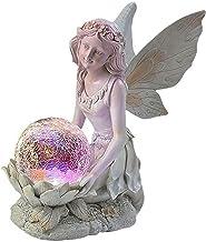 Fairy Garden Ornament Outdoor met zonne-verlichting, waterdichte hars Angel Garden standbeeld beeldje, met Crakle Glass Ba...
