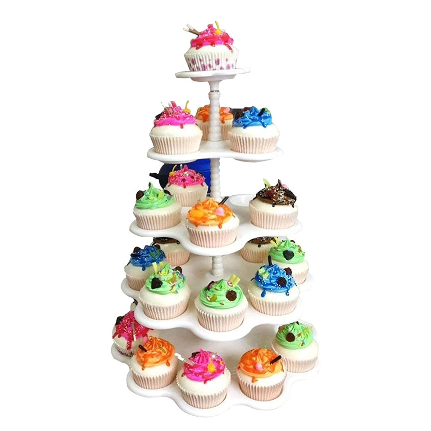 Agyvvt 5-Tier Round Cupcake Stand-Holder,Display Tree Tower Cake Plate,Tea Party Serving Platter Stand For Wedding  Home  Birthday Party White