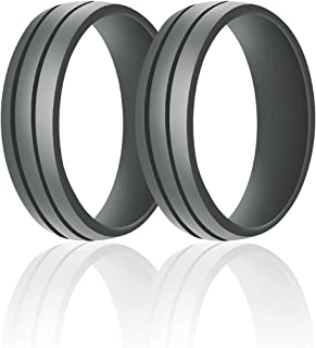 SANXIULY Mens Silicone Wedding Ring&Rubber Wedding Bands for Workout and Active Athletes Width 8mm