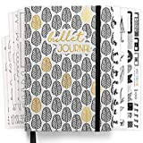 Premium Bullet Journal Starter Set - (Schwarz Weiß) - Notizbuch A5 gepunktet   192 Seiten 120g/m² dotted Papier   mit Punkteraster, Stifthalter, Schablonen, Stickern, Dreieckstasche, Anleitung