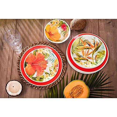 Melamine Dinnerware Tropical Design Set of 18 Pieces (Blue)