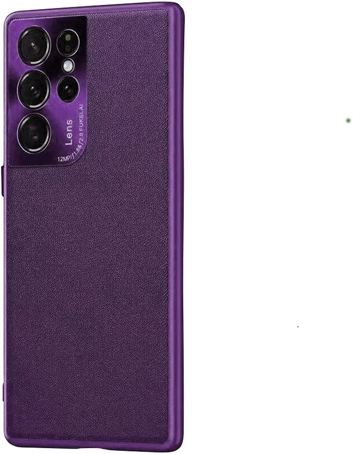 Case for Samsung Galaxy S21 Ultra Case,XLHLKP Samsung S21 Ultra Case 5G,Leather Quality with Full Metal Lens Back Design Back Slim Case for Samsung S21 Ultra in 6.8 inch (Leather Purple)