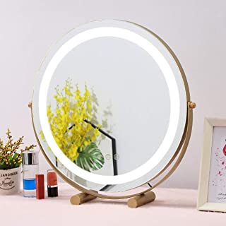 Illuminated makeup mirror, desktop led makeup mirror, intelligent touch stepless dimming, three-color adjustable, portable...