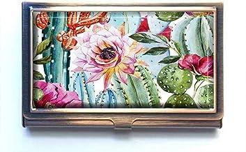 jkfgweeryhrt Roses and Cactus Custom Portable Business Bank Name Card Case Holder Box Pocket Credit Card ID Wallet