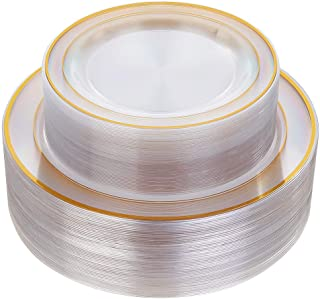 """96 Pieces Plastic Gold Plates, Gold Disposable Plates Includes: 48 Dinner Plates 10.25 \"""" and 48 Dessert Plates 7.5 \"""", Pr..."""