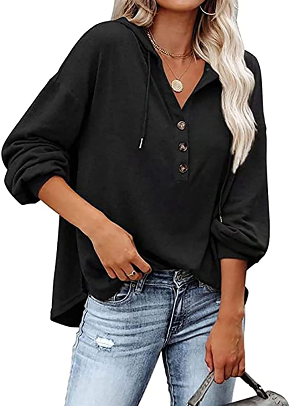MAYFASEY Women's Sexy Deep V Neck Henley Shirts Long Sleeve Button Down Sweatshirts Hoodies Pullover Tops with Drawstring