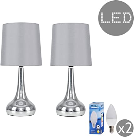 Pair of - Modern Chrome Teardrop Touch Table Lamps with Grey Fabric Shades - Complete with 5w LED Dimmable Candle Bulbs [3000K Warm White]