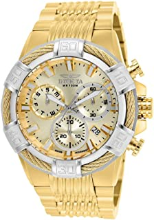 Invicta Men's Bolt 51mm Silver, Gold Tone Stainless Steel Chronograph Quartz Watch, Gold Silver (Model: 25862, 25866, 25868)