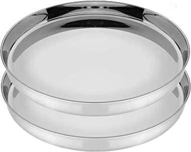 Sager Stainless Steel Heavy Gauge Dinner Plates with Mirror Finish, Curved deep Wall Design 29 cm Dia - Set of 2pc