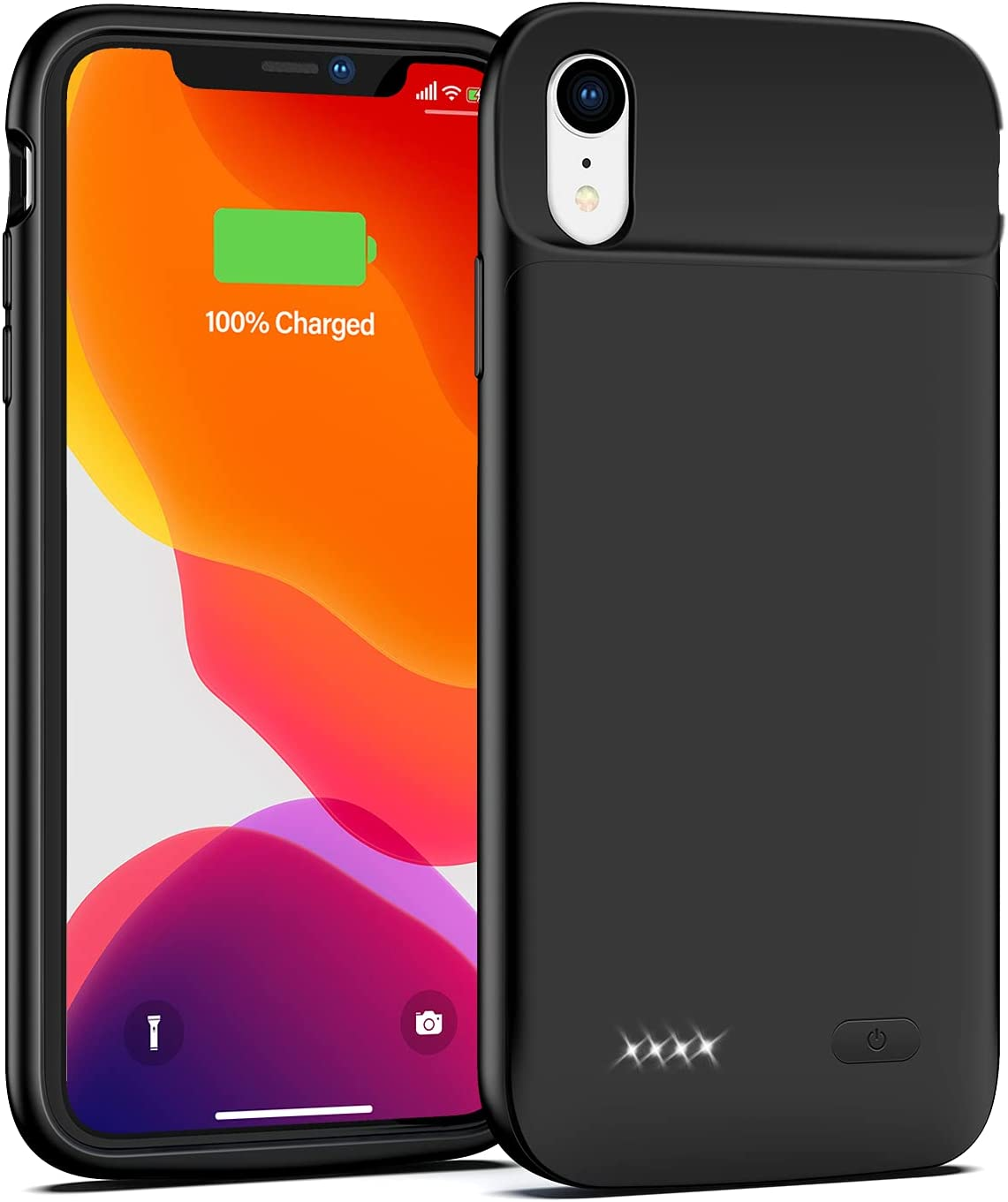 Lonlif Battery Case for iPhone XR, 5000mAh Protective Charging Case Portable Rechargeable Battery Pack Extended Slim Charger Backup Power Bank(6.1 inch)-Black