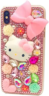 DVR 4000 Galaxy S9 Plus Diamond Case,Handmade Pink Bow Cartoon Cat Bling Glitter Diamond Shining Sparking Crystal Rhinestone Phone Case for Samsung Galaxy S9 Plus,NO3