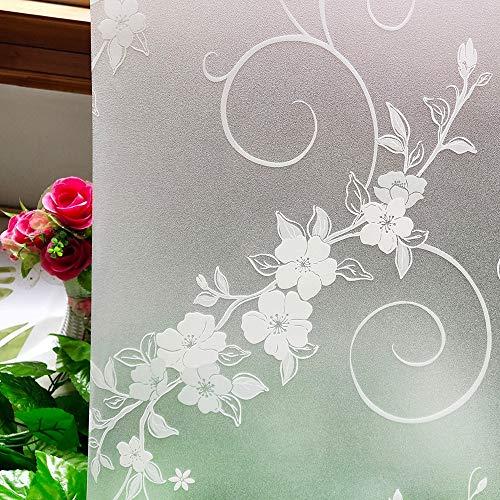 LMKJ Decoración de Flores Blancas película de Vidrio para Ventana protección de privacidad Opaca película para Ventana de decoración del hogar esmerilada A45 60x200cm