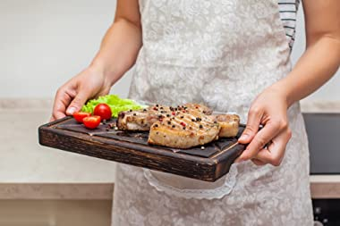 Wood Steak Board 12 x 8 Solid Oak Serving Barbecue Platter Natural Thick Cutting Plate Durable & Quality