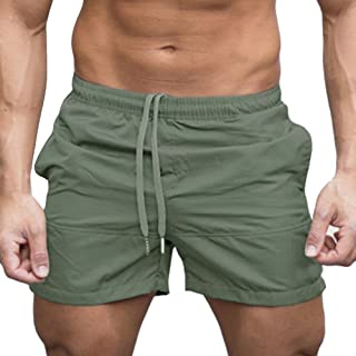JJLIEKR Men Loose Casual Athletic Shorts Elastic Waist Drawstring Quick Dry Breathable Training Pants with Pocket Black