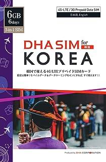 DHA SIM for Korea 韓国 6日 6GB 4G/LTEプリペイドSIMカード