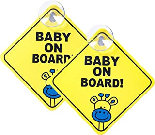 WildAuto Baby on Board Sign for Cars,2Pcs Kids Safety Warning Sticker Notice Board with Suction Cups