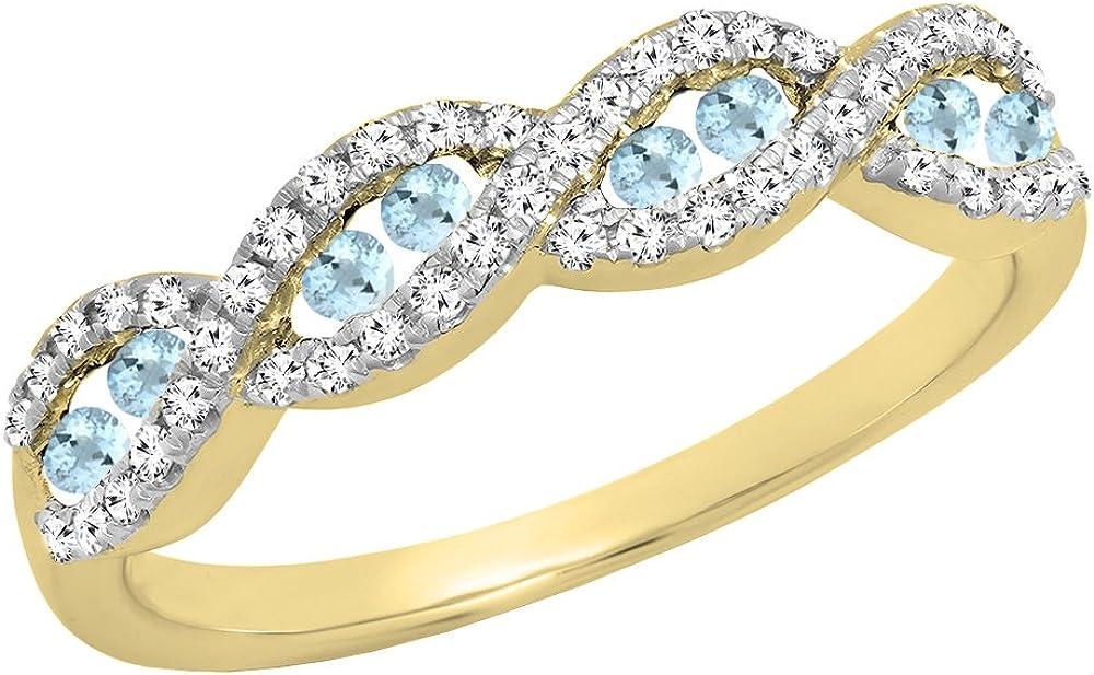 Dazzlingrock Collection 10K Round Gemstone & Diamond Ladies Swirl Anniversary Wedding Band, Yellow Gold