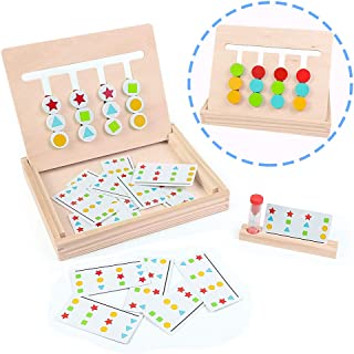 Fajiabao Wooden Montessori Toys Color Shape Sorting Logic Board Games Maze Slide Puzzle Board Kids Autism Toy Developmental Early Learning Trays Birthday Gifts for Children Boys Girls