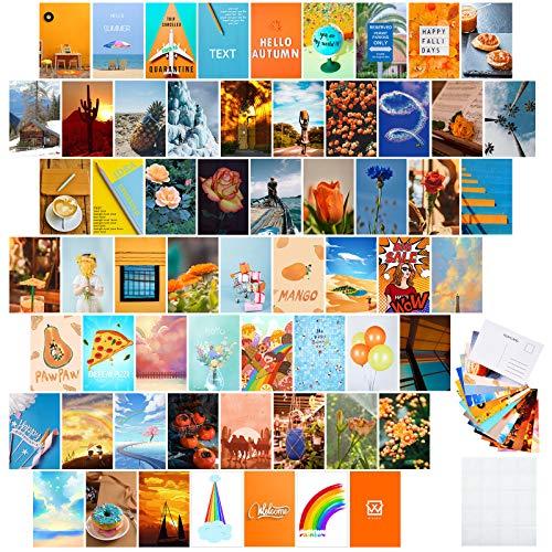 60 Piezas Kit de Collage de Pared Estética Naranja con Posterior de Postal 4 x 6 Pulgadas Impresión de Arte de Pared, Colección de Fotos Dormitorio, Carteles Pequeños para Adolescentes