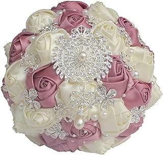 Bridal Bouquet Artificial Handmade Crystal Brooch Wedding Bouquets Roylblue Ivory Silk Rose Diamonds Bouquets,Ivory Duosha 18Cm