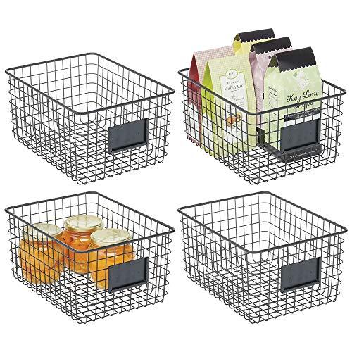 mDesign Juego de 4 cajas multiusos de metal – Caja organizadora multifunción para cocina, despensa, etc. – Cesta de almacenaje de alambre, compacta y universal – negro