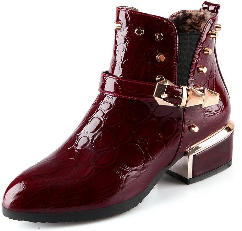 AdeeSu Womens Fashion Retro Buckle Grommets Urethane Boots SXC01957