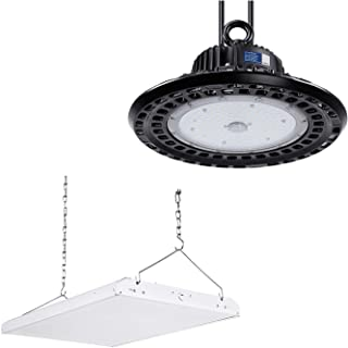 LEONLITE 165W High Bay Shop Light Bundle 100W UFO High Bay Light, 2ft 165W Dimmable 21,450lm Brightest LED Linear High Bay Shop Light & 100W Dimmable 14,300lm Super Bright LED Commercial Lighting