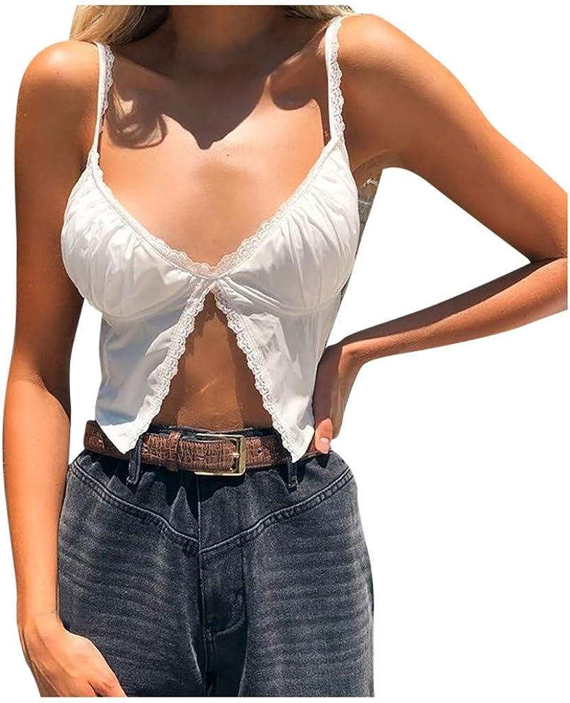 MASZONE Women's Fashion Crop Cami Tops Spaghetti Strap V Neck Tank Tops Lace Slim Patchwork Sleeveless Camisole Shirt