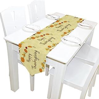 Rétro de l'action de Grâces des Citrouilles et des Feuilles d'Érable,13 x 70 Inchs Table Runner Moderne Ferme Décor,Vacanc...