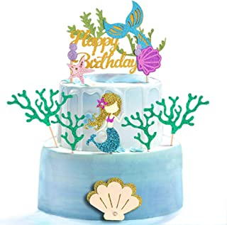 Glitter Mermaid Theme Birthday Cake Topper with Seaweed and Mermaid, Cake Cupcake Toppers for Girls Mermaid Themed Birthda...