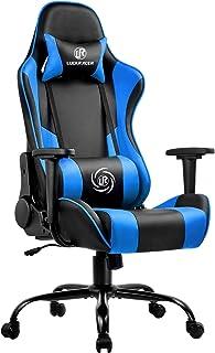 LUCKRACER Silla Gaming Escritorio Oficina Gamer Ergonomico Respaldo Reclinable Giratoria Ordenador Azul