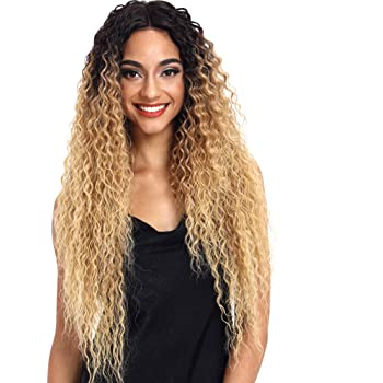 Joedir Lace Front Wigs Ombre Blonde 28'' Long Small Curly Wavy Synthetic Wigs For Black Women 130% Density Wigs (ombre blond)