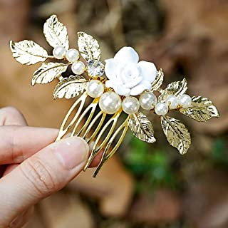 Jakawin Bride Flower Wedding Hair Comb Leaf Bridal Hair Piece Pearls Hair Accessories for Women and Girls HC085 (Gold)