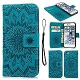 Geniric Handy Hülle für iPhone 6S 6 PU Leder Flip Wallet Cover Stand Hülle Card Slot Leder Tasche Karteneinschub Magnetverschluß Kratzfestes (Blau Sonnenblume)