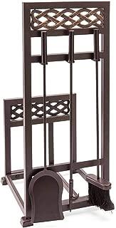Plow & Hearth McCormick Celtic Fireplace Tool Set Log Rack - 13.75''W x 14.75''D x 30.75''H - Bronze