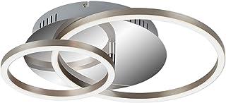Briloner Leuchten - Lámpara de techo LED, regulable, incluye función de memoria, 1 módulo LED giratorio, 30 vatios, 2400 lúmenes, 3000 Kelvin, cromo-aluminio, 390 x 300 x 80 mm (Largo x ancho x alto)