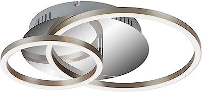 Briloner Leuchten - Plafonnier LED, plafonnier à gradation, avec fonction mémoire, 1 module LED rotatif, 30 Watt, 2.400 Lumen, 3.000 Kelvin, chrome-aluminium, 390x300x80mm (LxLxH)
