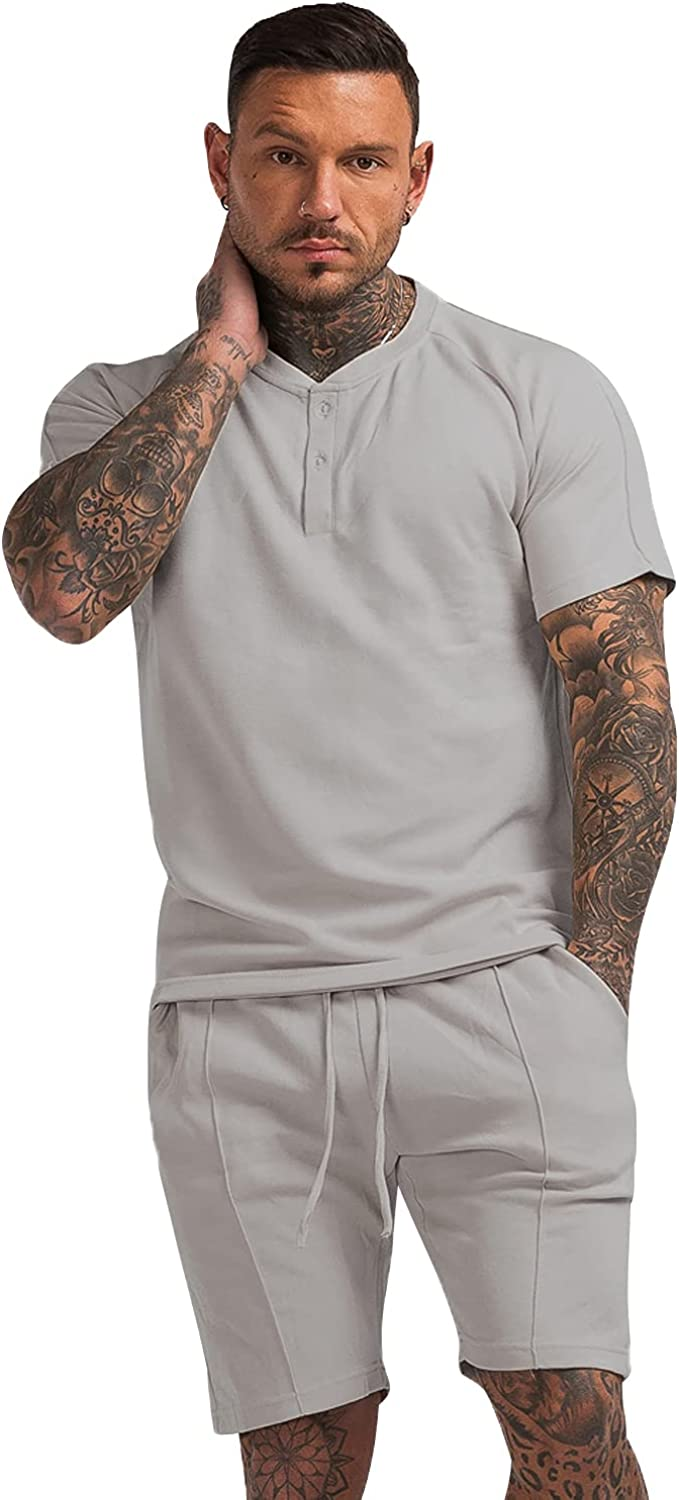 GINGTTO Men's Pajama Set Free shipping anywhere in the nation Finally resale start Short Sleeve Poc and Cotton Shorts with