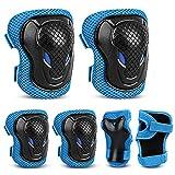 laxikoo Set de Protecciones Patines Rodilleras Niño Niña Infantil Juego de Protectores Patines Ajustables 6 en 1 de Rodilleras Coderas y Muñequeras para Skate, Bicicleta, Monopatín, Patinaje, Escalada