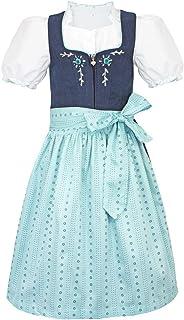 Turi Landhaus Kinder Dirndl Maja M821024 - Marineblau- Zauberhaftes Mädchen Dirndlkleid mit Bluse Schürze 3-teilig
