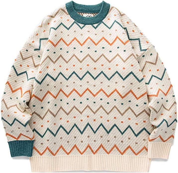 JJSPP Youth Men Striped Vintage Winter Sweaters 2020 Pullover Oversize Korean Fashions Sweater Women Casual Vintage Clothes (Color : Apricot, Size : L-length-67CM)