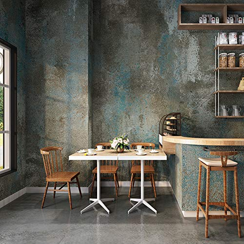 YIFU LIFE F3304 Concrete Texture Wallpaper Blue/Gray Rustic Stained Cement Wallpaper Home Restaurant Bar Wall Decoration 20.8' x 32.8ft
