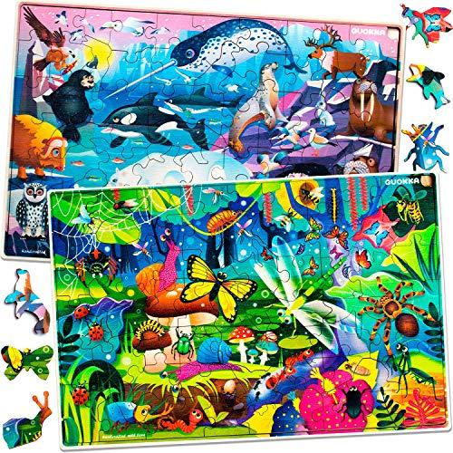 Quokka Kids Toys Puzzles para niños y niñas de 8 a 10 años - 60 piezas de rompecabezas para niños de 5 a 8 años - Insectos y bichos, animales, divertidos juegos educativos para niños de 8 a 12 años