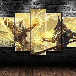 LOVEQ 5 Pieces Images Photo Zeus Anubis Dieu Combat HD Imprime Decoration Murale Tableaux Posters Moderne Peinture sur Toi...
