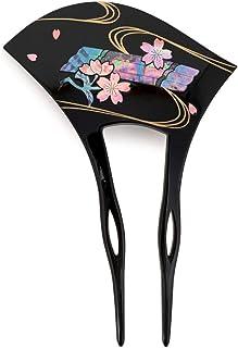 (ソウビエン) バチ型簪 黒 ブラック 流水 桜 螺鈿 貝 かんざし