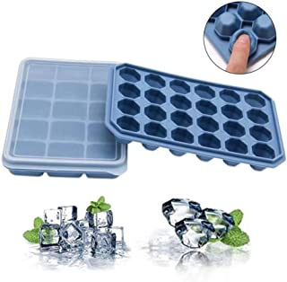 Stackable Easy-Release Ice Cube trays with Spill-Resistant Removable Lid,2 pack by Ruili Life.FDA Certified and BPA-free,for Whiskey& Cocktails.Durable and Dishwasher Safe