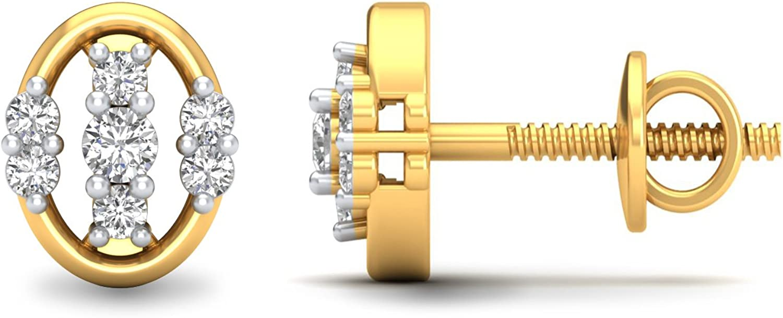 3djewels Women's 0.12Cts Round Simulated Diamond Geometric Earring 14K Yellow gold Plated